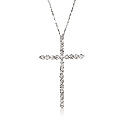.10 ct. t.w. Diamond Large Cross Pendant Necklace in Sterling Silver, , default