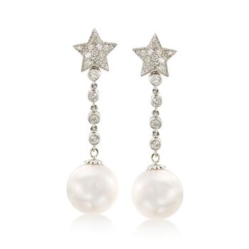 C. 1990 Vintage 12mm Cultured Pearl and .50 ct. t.w. Diamond Star Drop Earrings in 14kt White Gold, , default