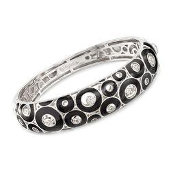 "Belle Etoile ""Nova"" Black Enamel Bangle Bracelet With .52 ct. t.w. CZs in Sterling Silver. 7"", , default"