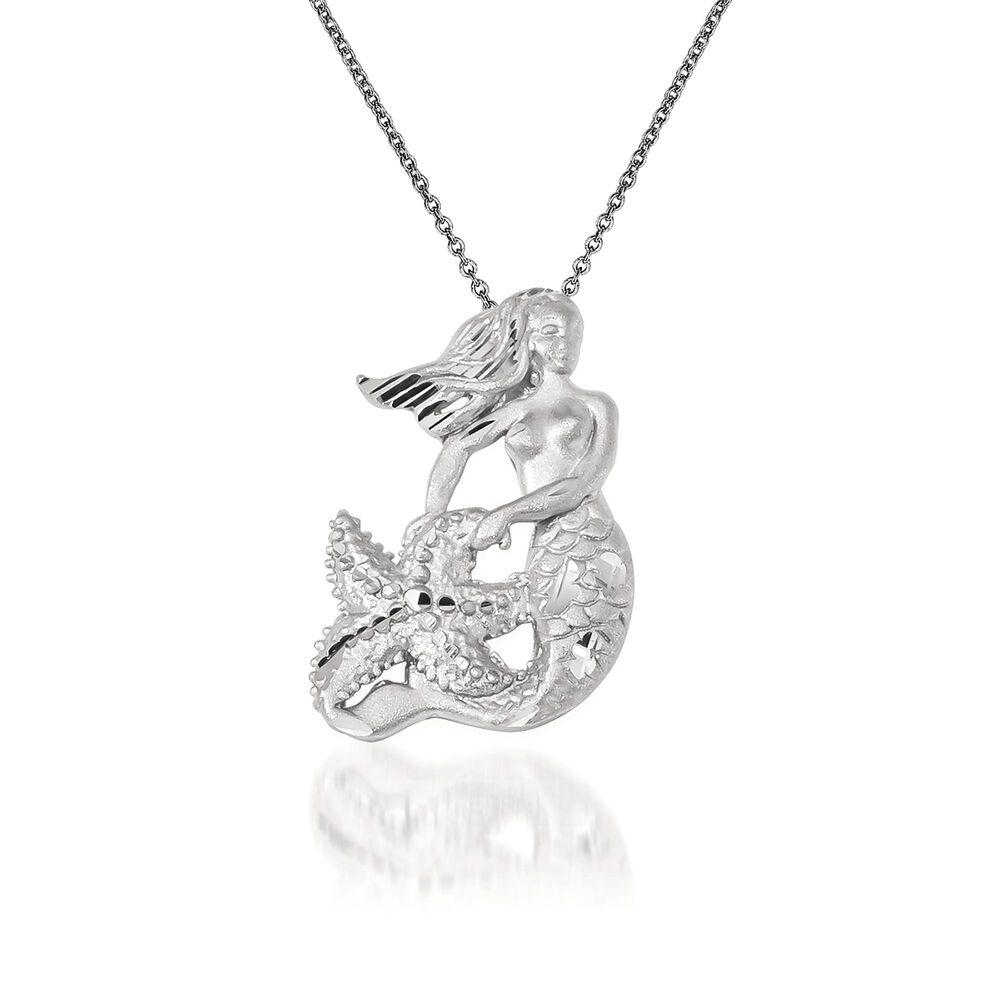 14kt white gold mermaid pendant necklace 18 ross simons 14kt white gold mermaid pendant necklace 18quot default aloadofball Choice Image