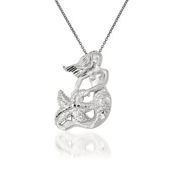 """14kt White Gold Mermaid Pendant Necklace. 18"""", , default"""