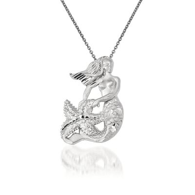 14kt White Gold Mermaid Pendant Necklace, , default