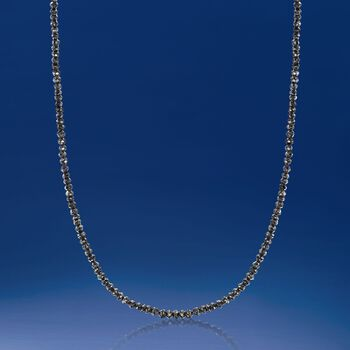 25.00 ct. t.w. Black Diamond Bead Necklace in 14kt White Gold, , default
