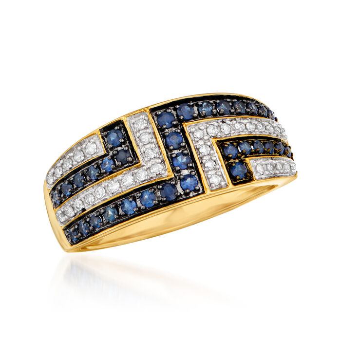 .30 ct. t.w. Sapphire and .15 ct. t.w. Diamond Ring in 14kt Yellow Gold