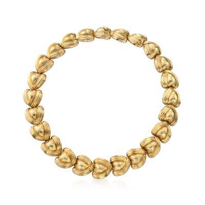 C. 1980 Vintage 18kt Yellow Gold Graduated Heart Necklace, , default