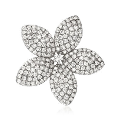 4.39 ct. t.w. Diamond Flower Pin/Pendant in 18kt White Gold, , default