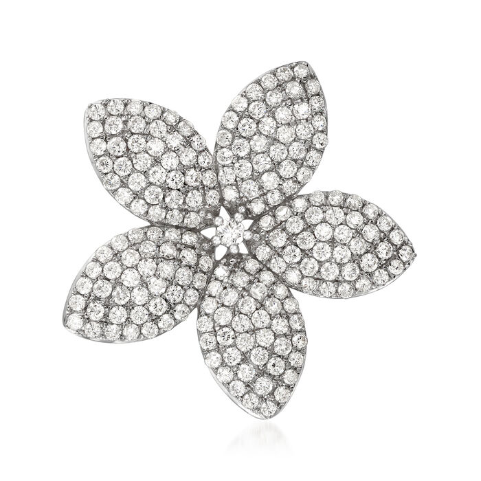 4.39 ct. t.w. Diamond Flower Pin/Pendant in 18kt White Gold
