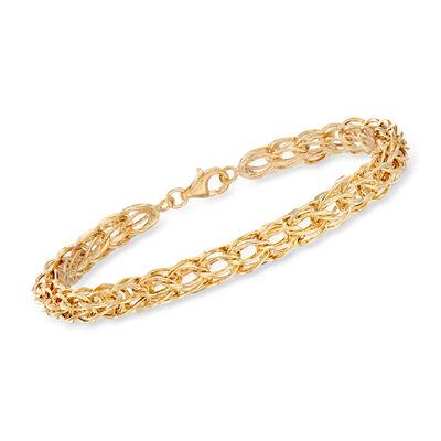 14kt Gold Over Sterling Interlocking Oval-Link Bracelet