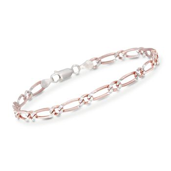 Italian 4mm 24kt Rose Gold Over Sterling Silver Figaro Bracelet, , default