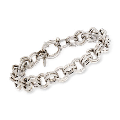 Italian Sterling Silver Double-Circle Link Bracelet, , default