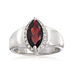 1.80 Carat Marquise-Shaped Garnet Ring With White Topaz Accents in Sterling Silver, , default