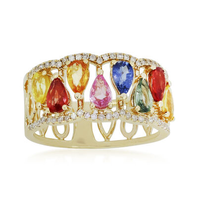 2.00 ct. t.w. Multicolored Sapphire and .21 ct. t.w. Diamond Ring in 18kt Yellow Gold