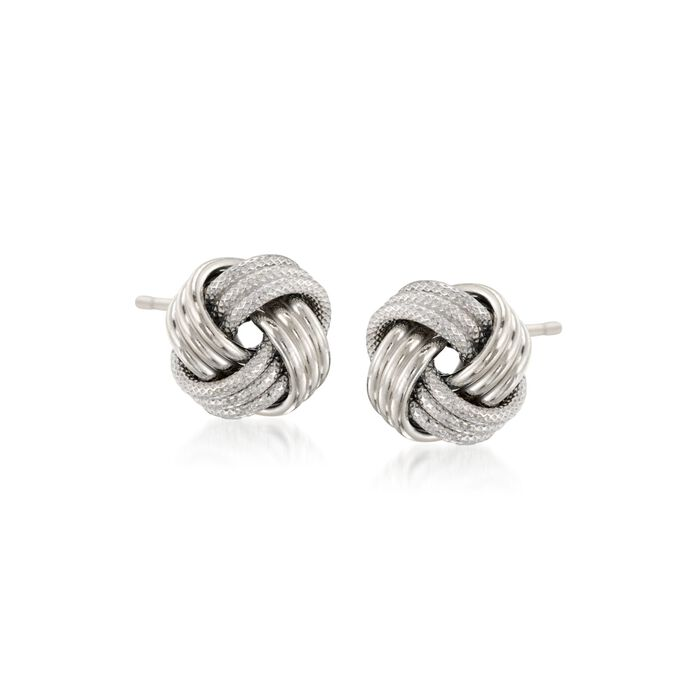 14kt White Gold Textured and Polished Love Knot Stud Earrings