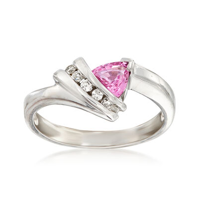 C. 1990 Vintage .50 ct. t.w. Pink Sapphire and .10 ct. t.w. Diamond Ring in 14kt White Gold, , default