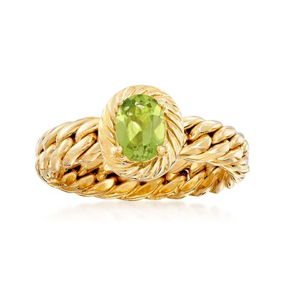 .70 Carat Peridot Curb-Link Shank Ring in 18kt Yellow Gold , , default