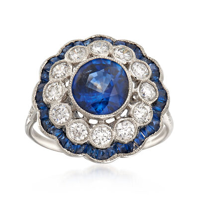 3.08 ct. t.w. Sapphire and .80 ct. t.w. Diamond Cluster Ring in 18kt White Gold, , default