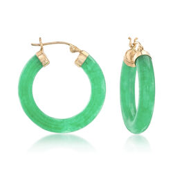 "Jade Hoop Earrings With 14kt Yellow Gold. 1"", , default"