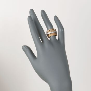 "ALOR ""Classique"" Yellow-Hued Stainless Steel Cable Ring with Diamond Accents and 18kt White Gold. Size 7, , default"