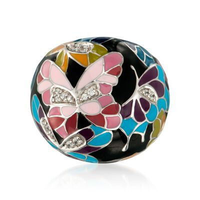 "Belle Etoile ""Butterfly Kisses"" .20 ct. t.w. CZ Ring with Enamel in Sterling Silver, , default"