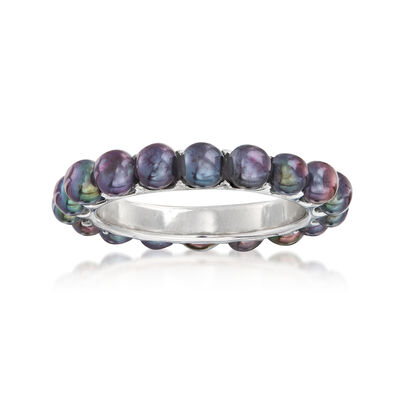 3.5-3.75mm Black Cultured Pearl Eternity Ring in Sterling Silver