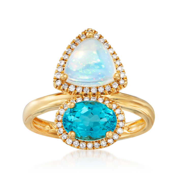 Opal, 1.30 Carat Apatite and .19 ct. t.w. Diamond Ring in 18kt Yellow Gold