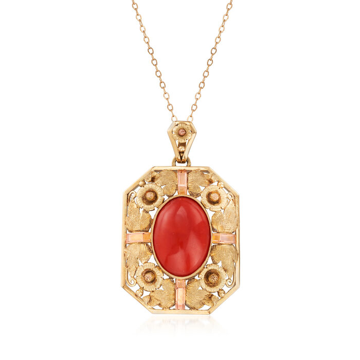 C. 1960 Vintage Red Coral Pendant Necklace in 14kt Two-Tone Gold