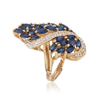 C. 1970 Vintage 4.80 ct. t.w. Sapphire and .25 ct. t.w. Diamond Cluster Knuckle Ring in 14kt Yellow Gold. Size 3.5, , default