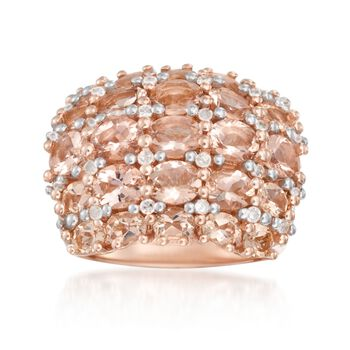 4.80 ct. t.w. Morganite and .36 ct. t.w. Diamond Multi-Row Ring in 14kt Rose Gold Over Sterling, , default