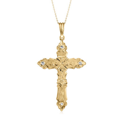 C. 1980 Vintage .75 ct. t.w. Diamond Cross Pendant Necklace in 14kt Yellow Gold, , default