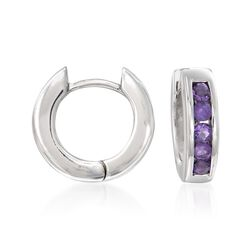 .70 ct. t.w. Amethyst Hoop Earrings in Sterling Silver, , default