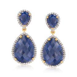 18.00 ct. t.w. Sapphire and .60 ct. t.w. White Topaz Drop Earrings in 18kt Yellow Gold Over Sterling Silver, , default