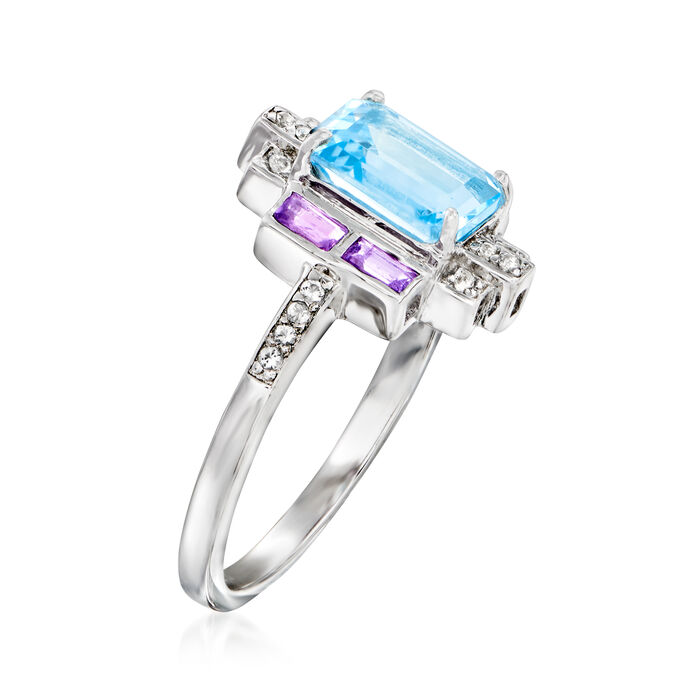 2.00 Carat Sky Blue Topaz and .20 ct. t.w. Amethyst Ring with .10 ct. t.w. White Topaz in Sterling Silver