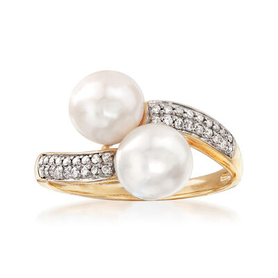 7-7.5mm Cultured Pearl and .10 ct. t.w. Diamond Bypass Ring in 14kt Yellow Gold, , default
