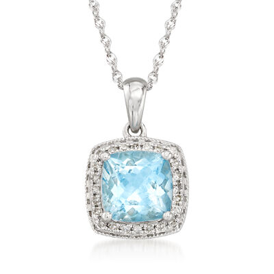 1.20 Carat Aquamarine and .10 ct. t.w. Diamond Pendant Necklace in 14kt White Gold, , default