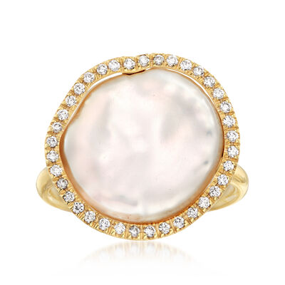 "Cultured ""Coin"" Pearl and .19 ct. t.w. Diamond Ring in 14kt Yellow Gold, , default"