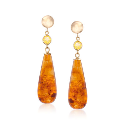 13.00 ct. t.w. Amber Teardrop Earrings with Citrine Accents in 14kt Yellow Gold