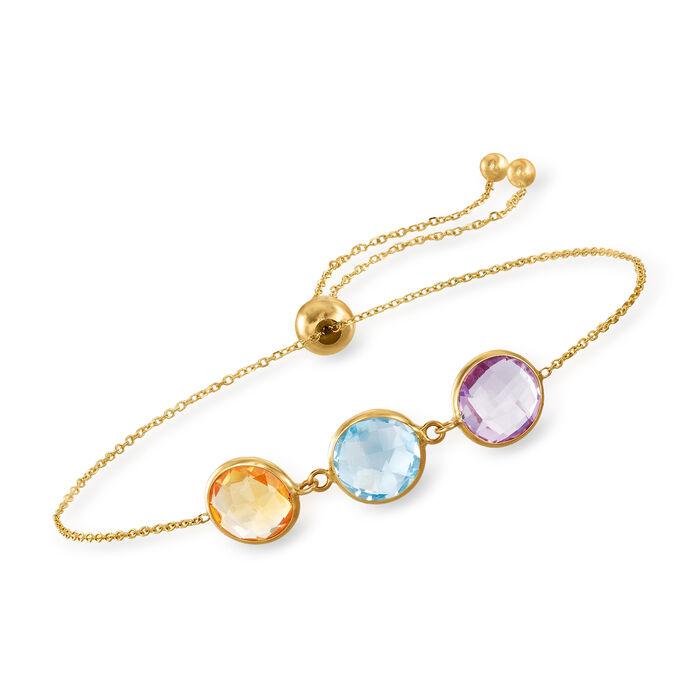 3.00 Carat Blue Topaz, 2.00 Carat Amethyst and 2.00 Carat Citrine Bolo Bracelet in 14kt Yellow Gold