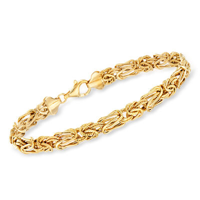 14kt Yellow Gold Textured and Polished Elongated Byzantine Bracelet