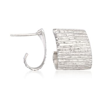 Italian Sterling Silver Textured and Curled Earrings, , default