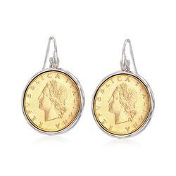 Italian Genuine 20-Lira Coin Drop Earrings in Sterling Silver, , default