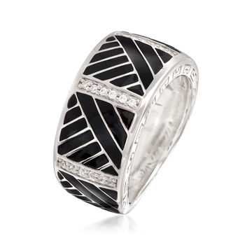 "Belle Etoile ""Laguna"" Black Enamel and .15 ct. t.w. CZ Ring in Sterling Silver. Size 7, , default"