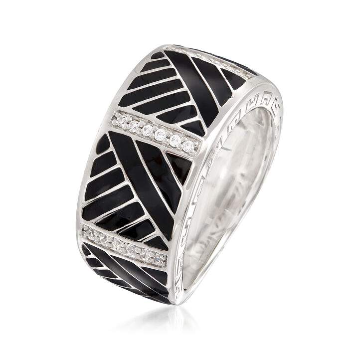 """Belle Etoile """"Laguna"""" Black Enamel and .15 ct. t.w. CZ Ring in Sterling Silver"""