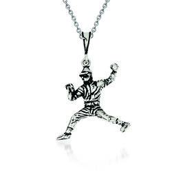 """Sterling Silver Antiqued Baseball Player Charm Necklace. 18"""", , default"""