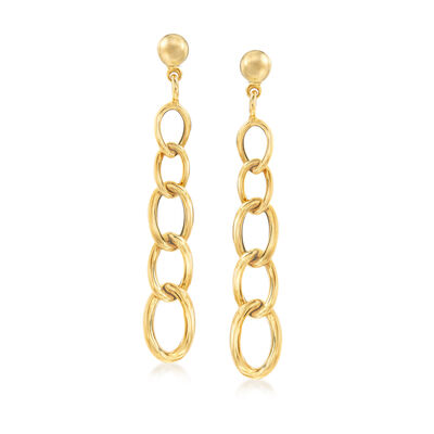 Italian 14kt Yellow Gold Linear Link Drop Earrings