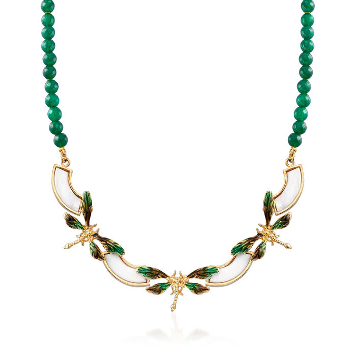 """Italian Mother-Of-Pearl and Green Agate Dragonfly Necklace with Enamel in 18kt Gold Over Sterling. 18"""""""