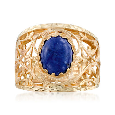 Italian Lapis Scroll Ring in 14kt Yellow Gold, , default