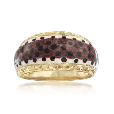 Multicolored Enamel Dome Ring in 18kt Gold Over Sterling, , default