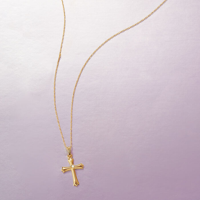 Child's 14kt Yellow Gold Cross Pendant Necklace with Diamond Accent