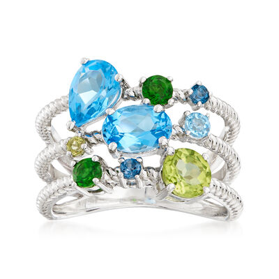 2.10 ct. t.w. Multi-Gemstone Ring in Sterling Silver, , default