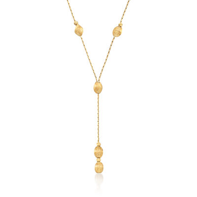 Italian 14kt Yellow Gold Diamond-Cut and Textured Oval Bead Y-Necklace, , default